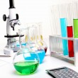 Stock Photo: Chemistry laboratory equipment and glass tubes