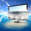 Large flat screen with nature images — Stock Photo