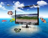 Tv a schermo piatto con immagini della natura — Foto Stock