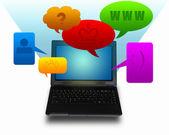 Laptop computer with symbols communication — Stock Photo