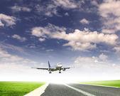 Image of a white passenger plane — Stock Photo