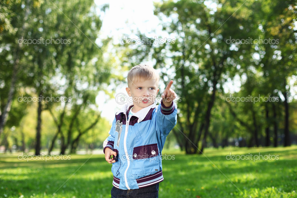 Happy little boy having fun in green summer park  Stock Photo #8244741