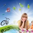 Collage with children and parents on green grass — Stock Photo #8348211