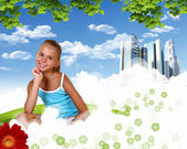 Lachende meisje op groen gras — Stockfoto