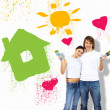 Young couple with paint brushes together — Stock Photo #8360929
