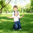 Royalty-Free Stock Photo: Two little brothers together in the park