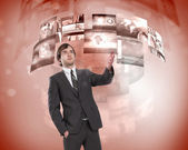 Business person and digital screens — Stock Photo