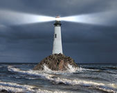 Lighthouse with a beam of light — 图库照片
