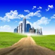 Stock Photo: Modern city surrounded by nature landscape