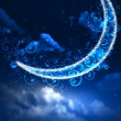Foto Stock: Night sky background with moon and stars