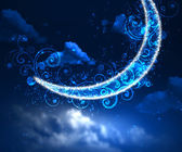 Night sky background with moon and stars — Stockfoto