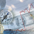 Financial charts with lighthouse on the background - Stock Photo