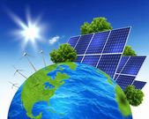 Collage with solar batteries — Stock Photo