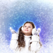 Cuty little girl in winter wear - Stock Photo