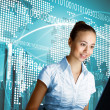 Young woman in business wear and headset — Stock Photo #8522371