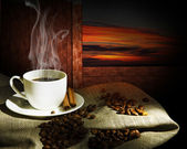 Steaming cup of coffee — Stock Photo