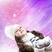 Cuty little girl in winter wear — Stock Photo