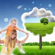 Stock Photo: Collage with children and parents on green grass