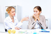 With cold and flu at work place — Stock Photo