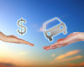 Human hands holding money against blue sky — Stock Photo