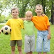 Boys in the park with a ball - Stock Photo