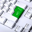 Computer keyboard with idea symbol — Stockfoto