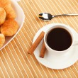 Breakfast coffee and croissants — 图库照片