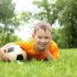 Little boy in the park with a ball — Stock Photo #8639151