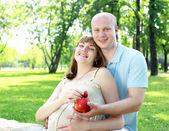 Giovane coppia picnic nel parco — Foto Stock
