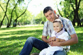Father with his baby boy outdoors — Stock Photo