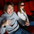 Young couple in cinema watching movie — Stock Photo #9080860