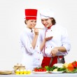 Portrait of a young cook in uniform — Stock Photo #9087797