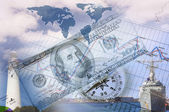 Tabelas e gráficos financeiros e empresariais — Foto Stock