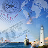 Financial charts with lighthouse on the background — Stock Photo