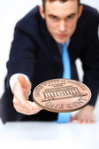 Coin as symbol of risk and luck — Stock Photo