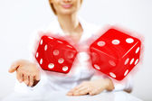 Flying dices as symbol of risk — Foto de Stock