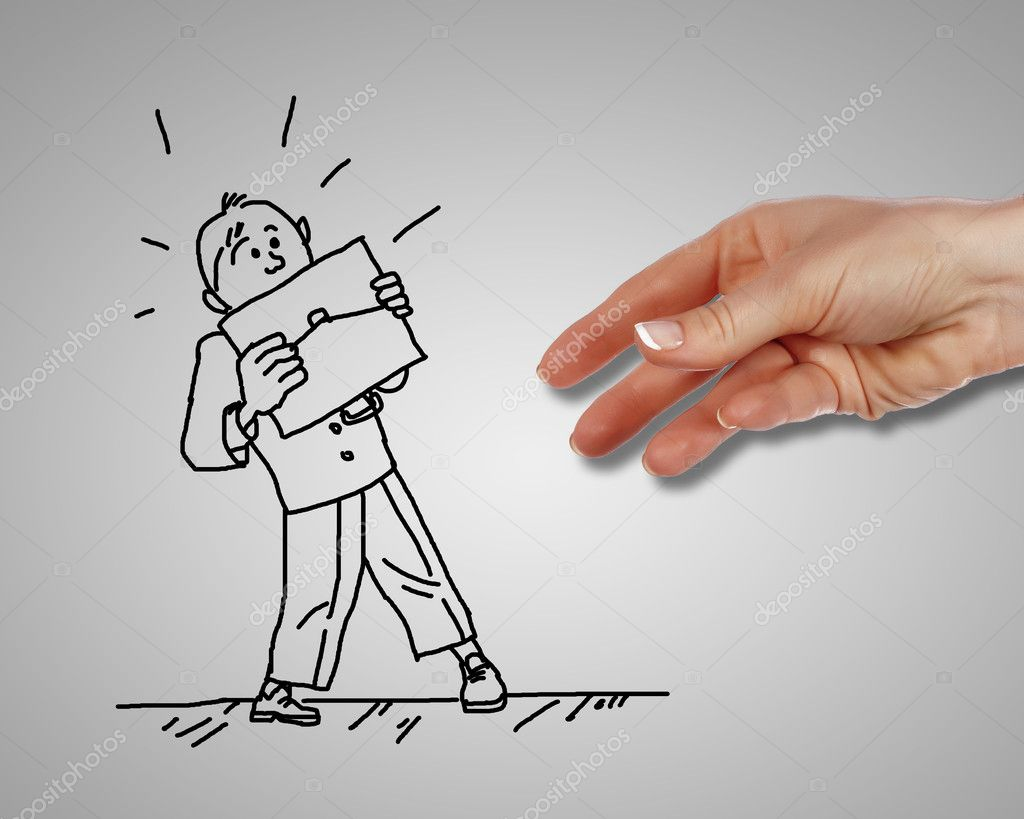 Drawing of a man in dangerous situation under threat  Stock Photo #9156366