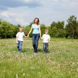 Stock Photo: Mother with her two sons outdoors