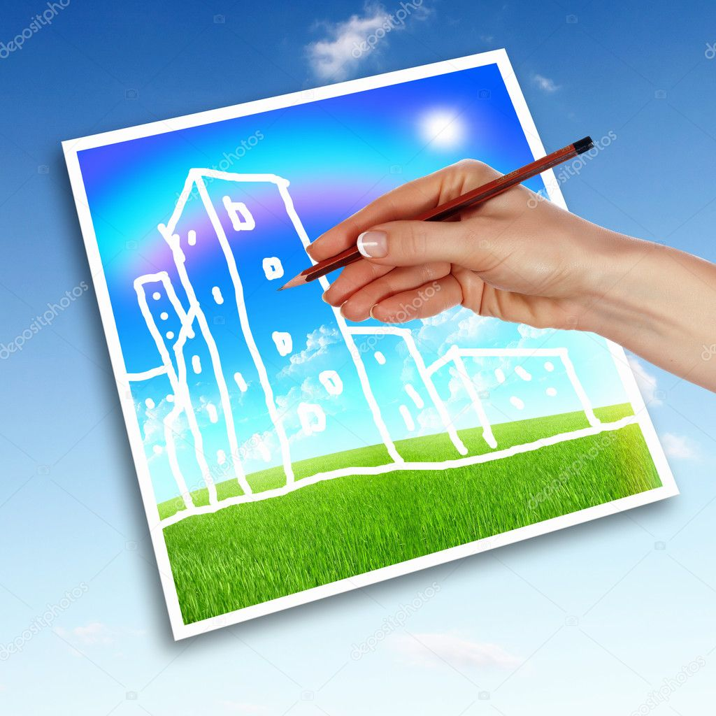 Picture of a house from white clouds against blue sky — Stock Photo #9189968