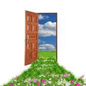 Open door leading to summer — Stock Photo