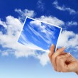 Sky with white cloudes and frames - Stock Photo