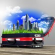 Red suitcase with city inside — Stockfoto