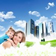 Collage with children and parents on green grass — Stock Photo #9282745