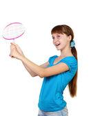 Raket ile oldukça genç kız — Stok fotoğraf