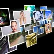 Stock Photo: Screens with images flow