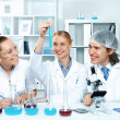 Young scientists working in laboratory - Stok fotoğraf