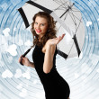 Royalty-Free Stock Photo: Woman dressed in retro style with umbrella