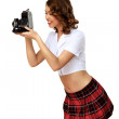 Woman dressed in retro style with camera — Stock Photo #9318004