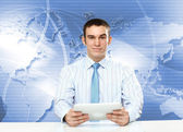 Young businessman making presentation — Stock Photo