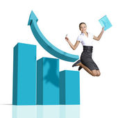 Young woman jumping against financial charts — Stock Photo
